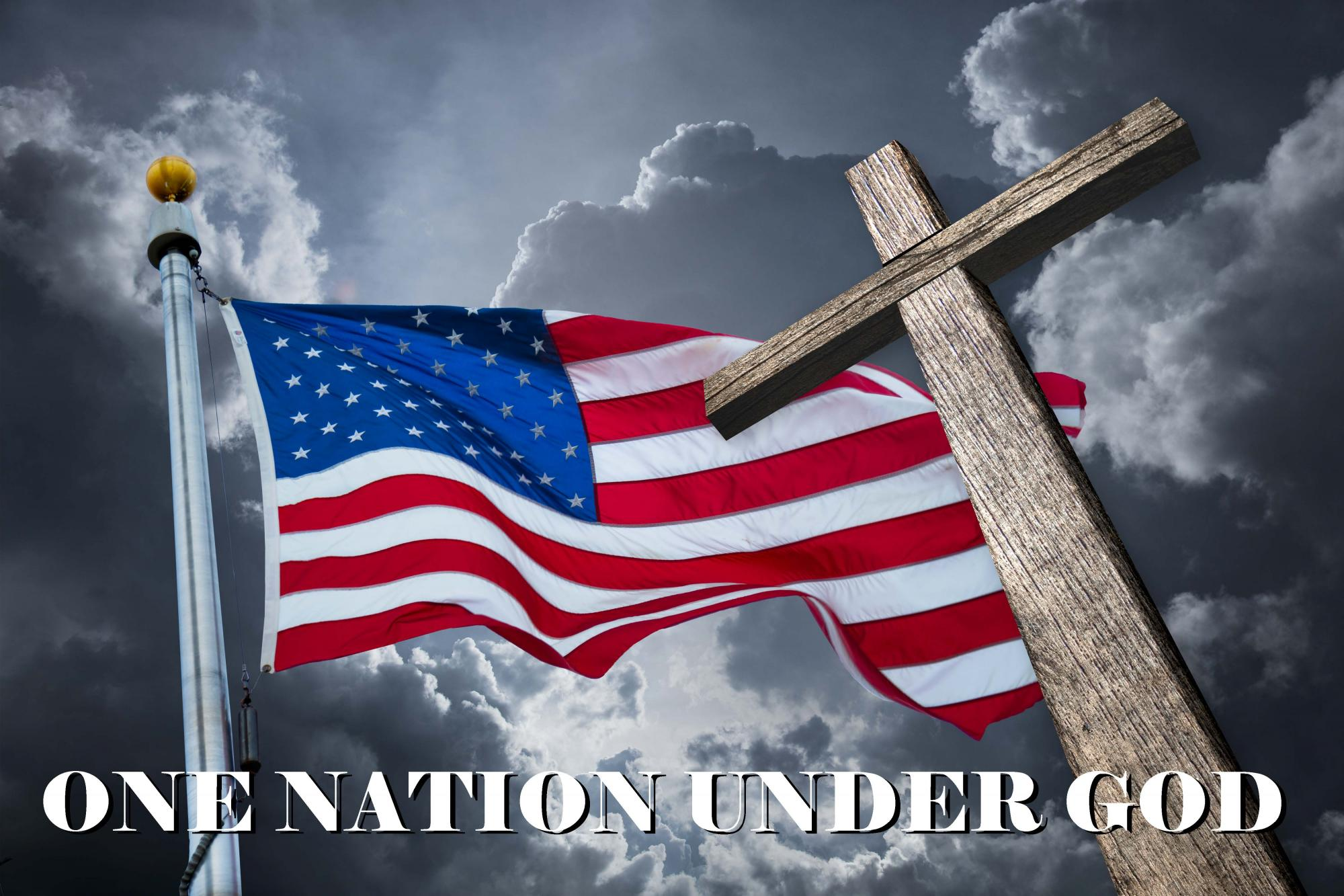 "Amercian Flag with a Christian Cross ""One Nation Under God"""